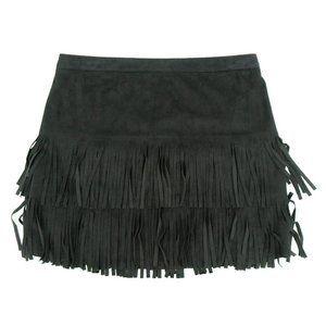 Hollister Women's Fringe Skirt Mini Zip Black (S)